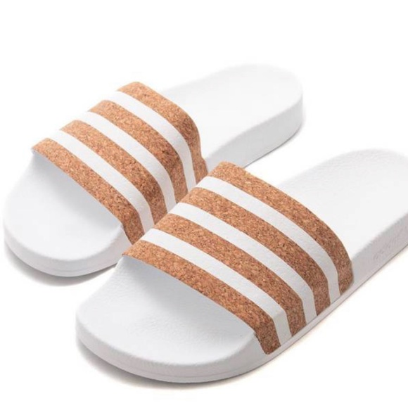 afb506b22fb Women s Adidas Cork Slides Size 7 NWT White